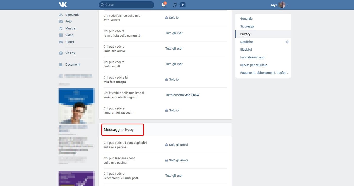 Impostazioni VK: chi può visualizzare i post sulla mia pagina