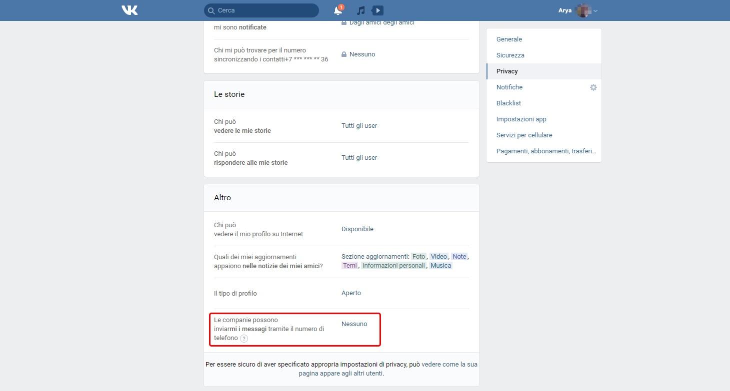 Impostazioni VK: Le community che possono inviarmi messaggi privati tramite il numero di telefono