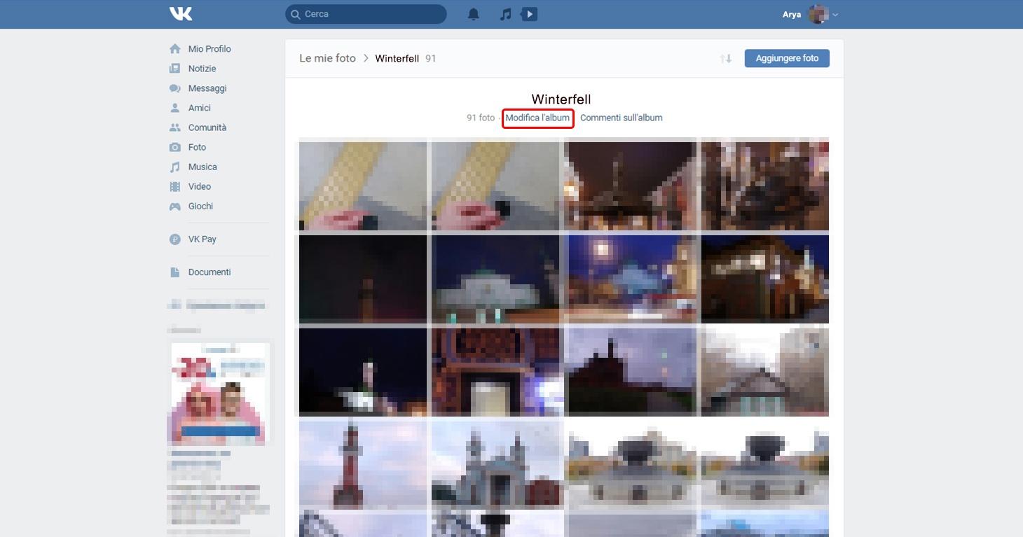 Impostazioni VK: Chi può visualizzare le foto dell'album