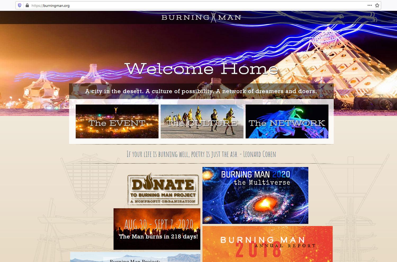 Pagina principale, sito ufficiale dell'evento