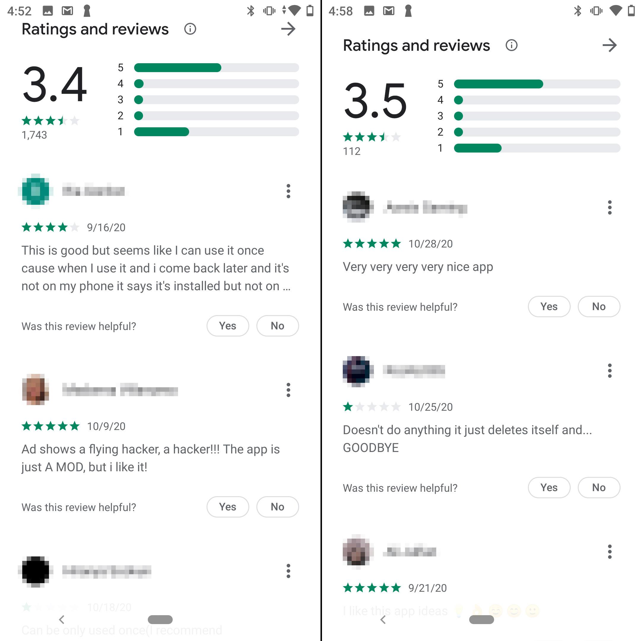 Le app ricevono cinque stelle o una. Un po' sospetto!