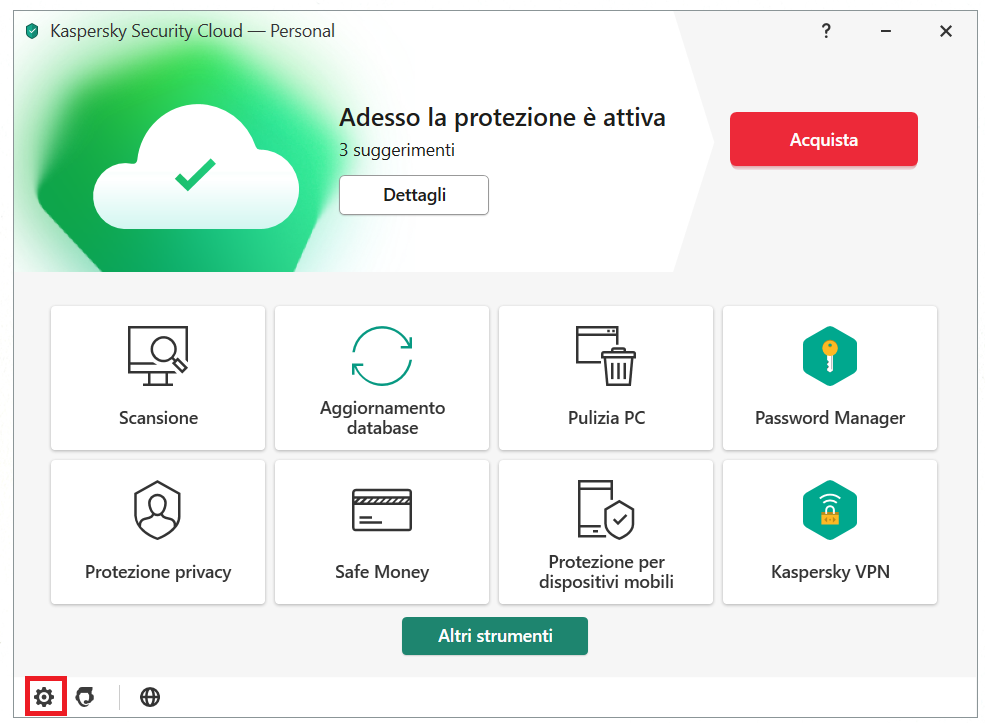 Abilitare l'Anti-Banner nel menu principale di Kaspersky Security Cloud