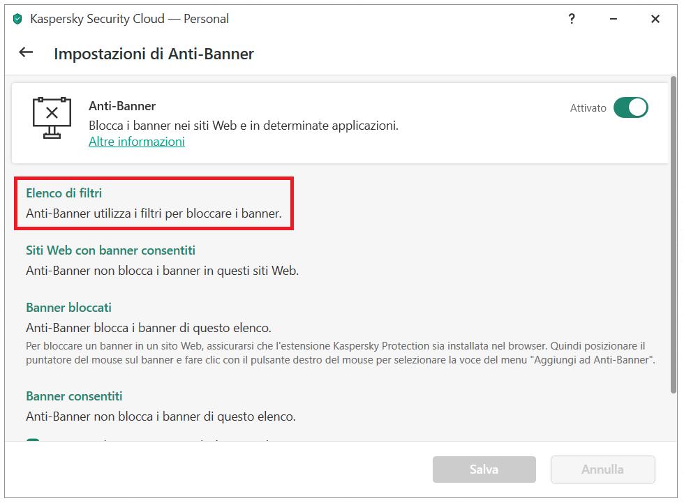 Configurazione di Anti-Banner su Kaspersky Security Cloud