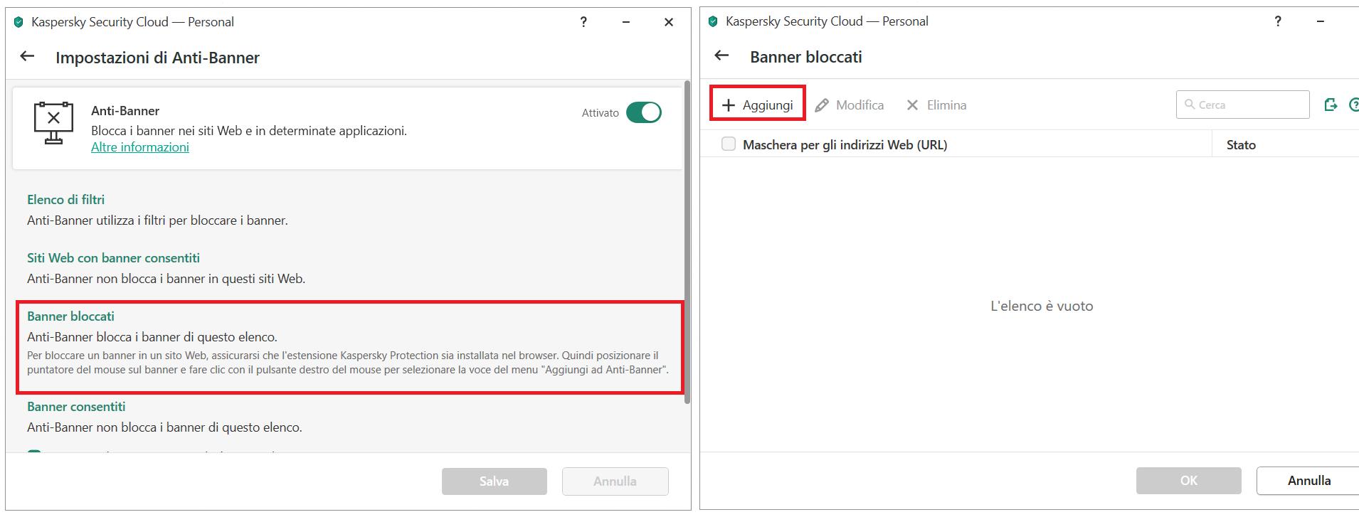 Aggiungere un banner alla lista di blocco su Kaspersky Security Cloud
