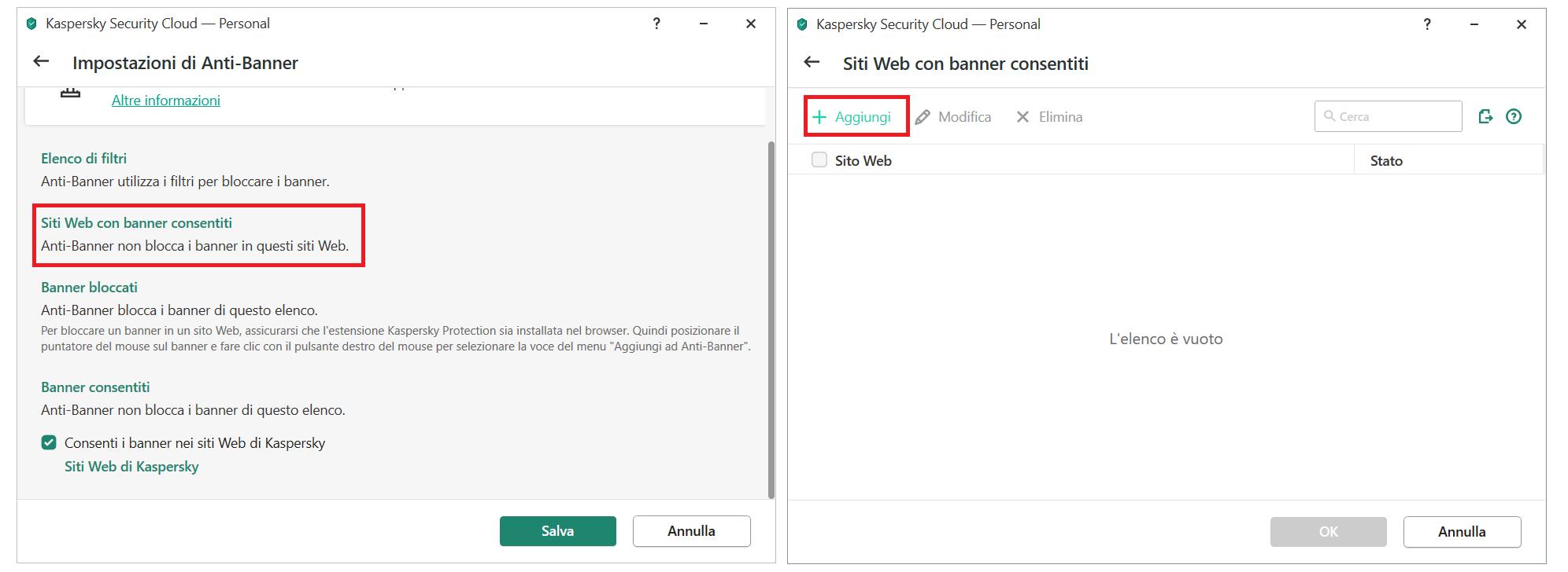 Aggiungere un banner alla lista di permessi su Kaspersky Security Cloud