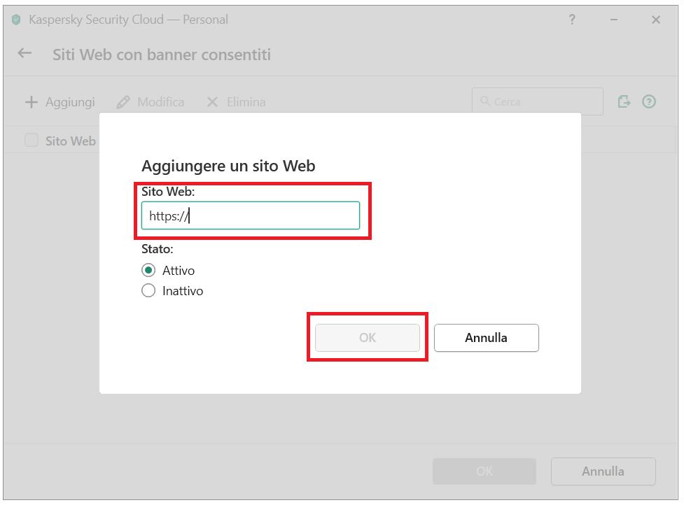 Aggiungere un banner alla lista di permessi in Kaspersky Security Cloud