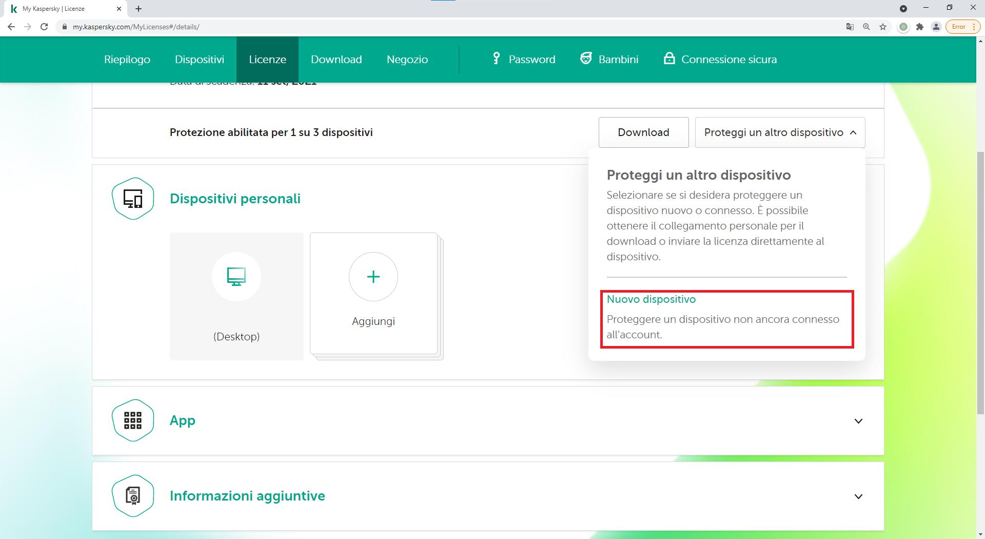 Come utilizzare My Kaspersky per inviare una licenza a un nuovo dispositivo