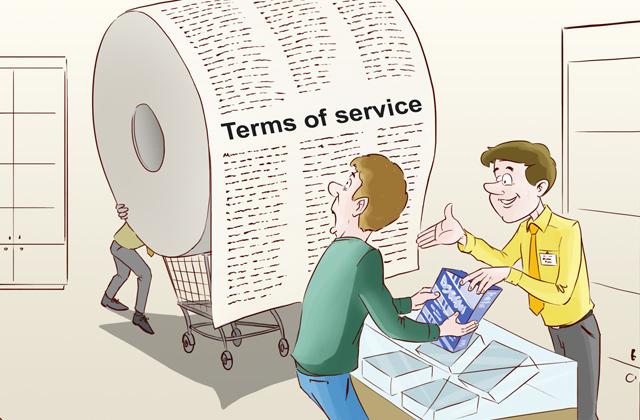 Пользовательское соглашение - огромный рулон текста, который надо прочесть.
