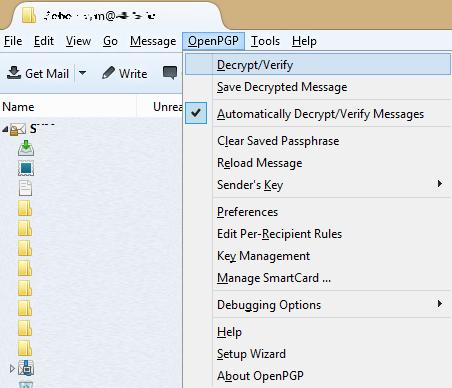 Настройка PGP в почтовом клиенте