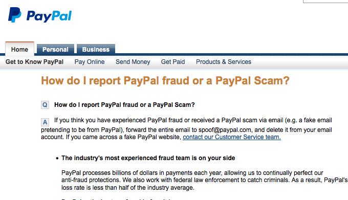 Форма жалобы на мошенничество на сайте PayPal