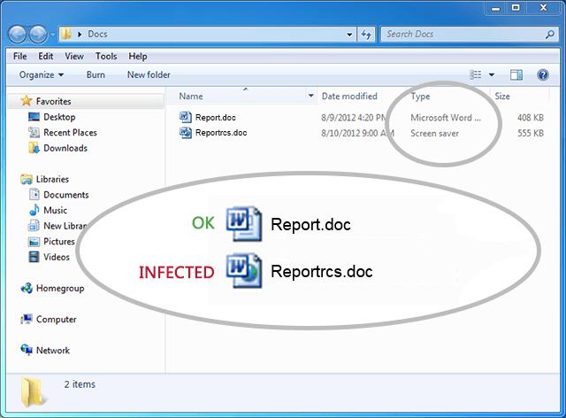 Чтобы проверить настоящий тип файла, переключитесь на просмотр подробностей