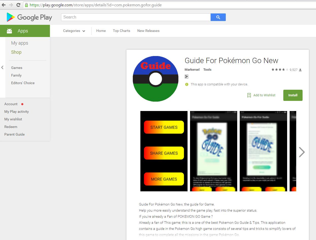 Троян Guide for Pokémon Go охотится на тренеров покемонов