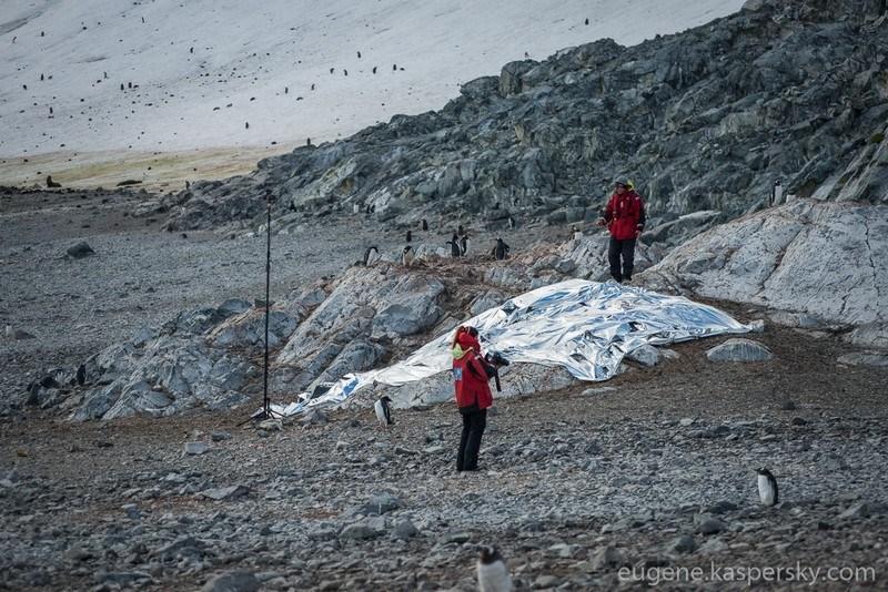Замаскировав свою научную экспедицию под культурное мероприятие Antarctic Biennale и отвлекая внимание потенциального противника двусмысленными арт-инсталляциями и перформансами, участники экспедиции незаметно фольгировали участок земли площадью примерно 20 квадратных метров