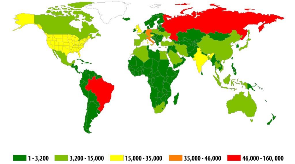"""Географическое распределение атак """"финансовых"""" зловредов во втором квартале 2014 года."""