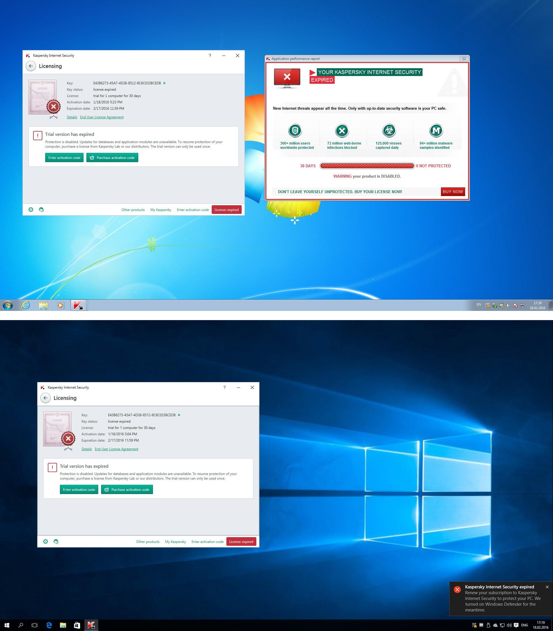 Уведомление об истечении лицензии на защиту здорового человека (сверху) и уведомление в Windows 10 (снизу)