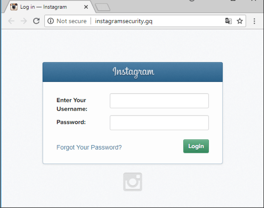 An example of a phishing page that simulates the entrance to the social network Instagram