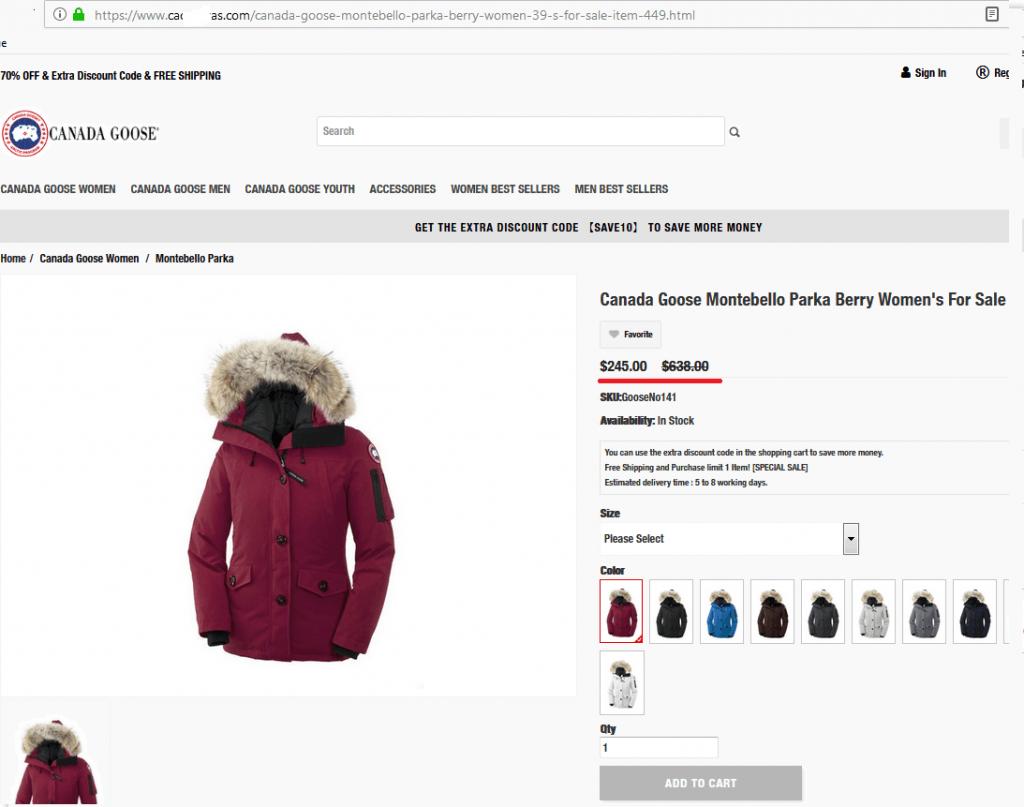 Теплая зимняя куртка популярного бренда с сумасшедшей скидкой на фишинговом сайте