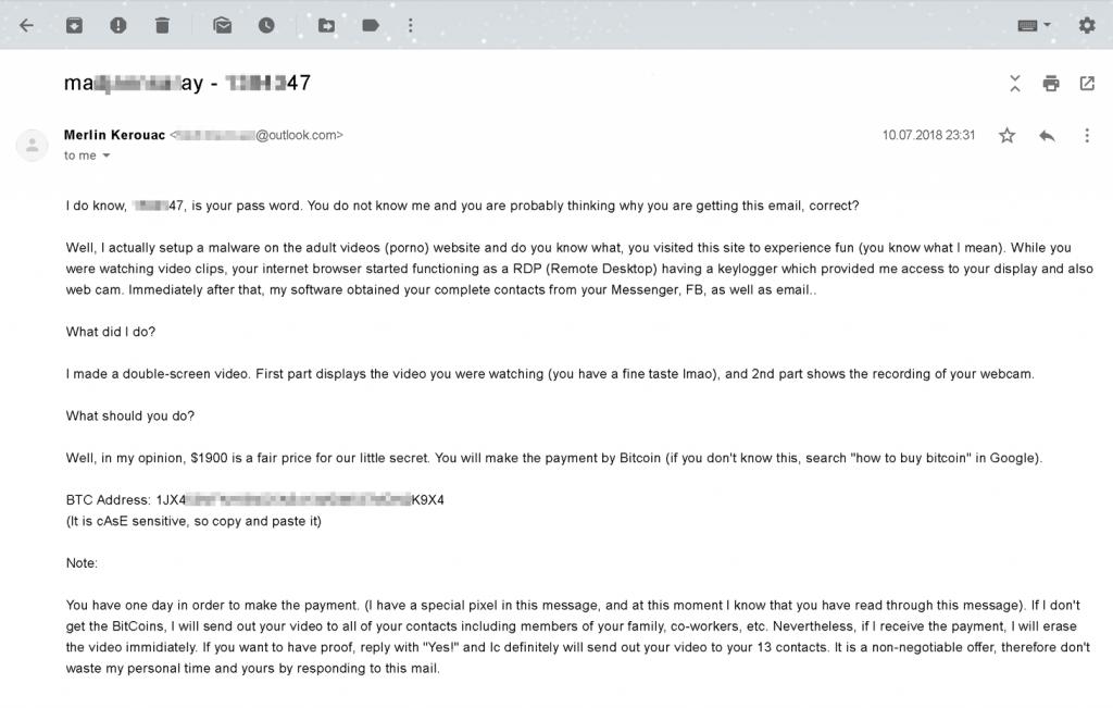 Примерно вот так может выглядеть письмо от вымогателей, утверждающих, что они сняли ролик, где изображены вы в процессе просмотра порно