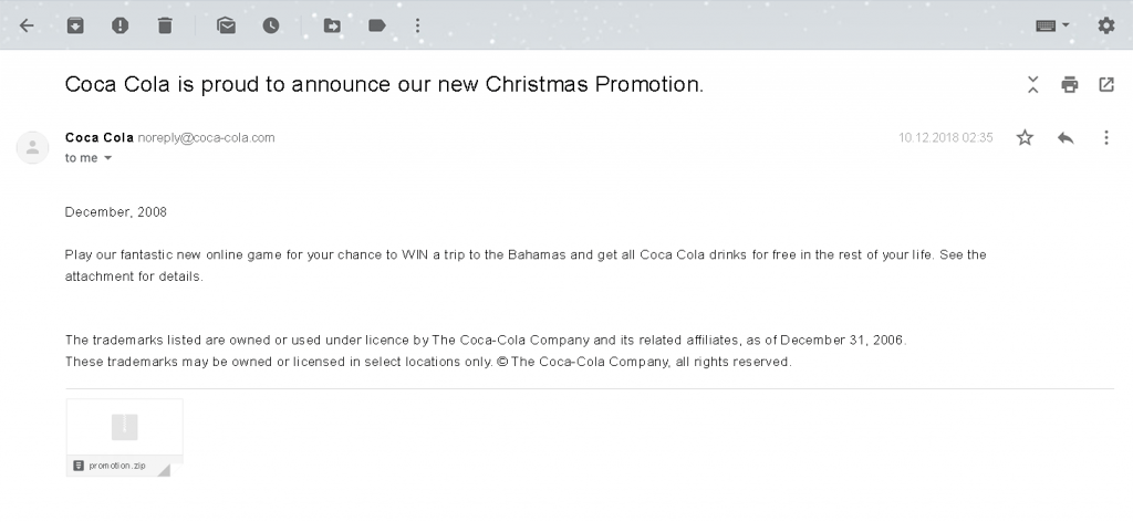 Письмо с вредоносным вложением, имитирующее праздничную промо-рассылку от имени Coca-Cola