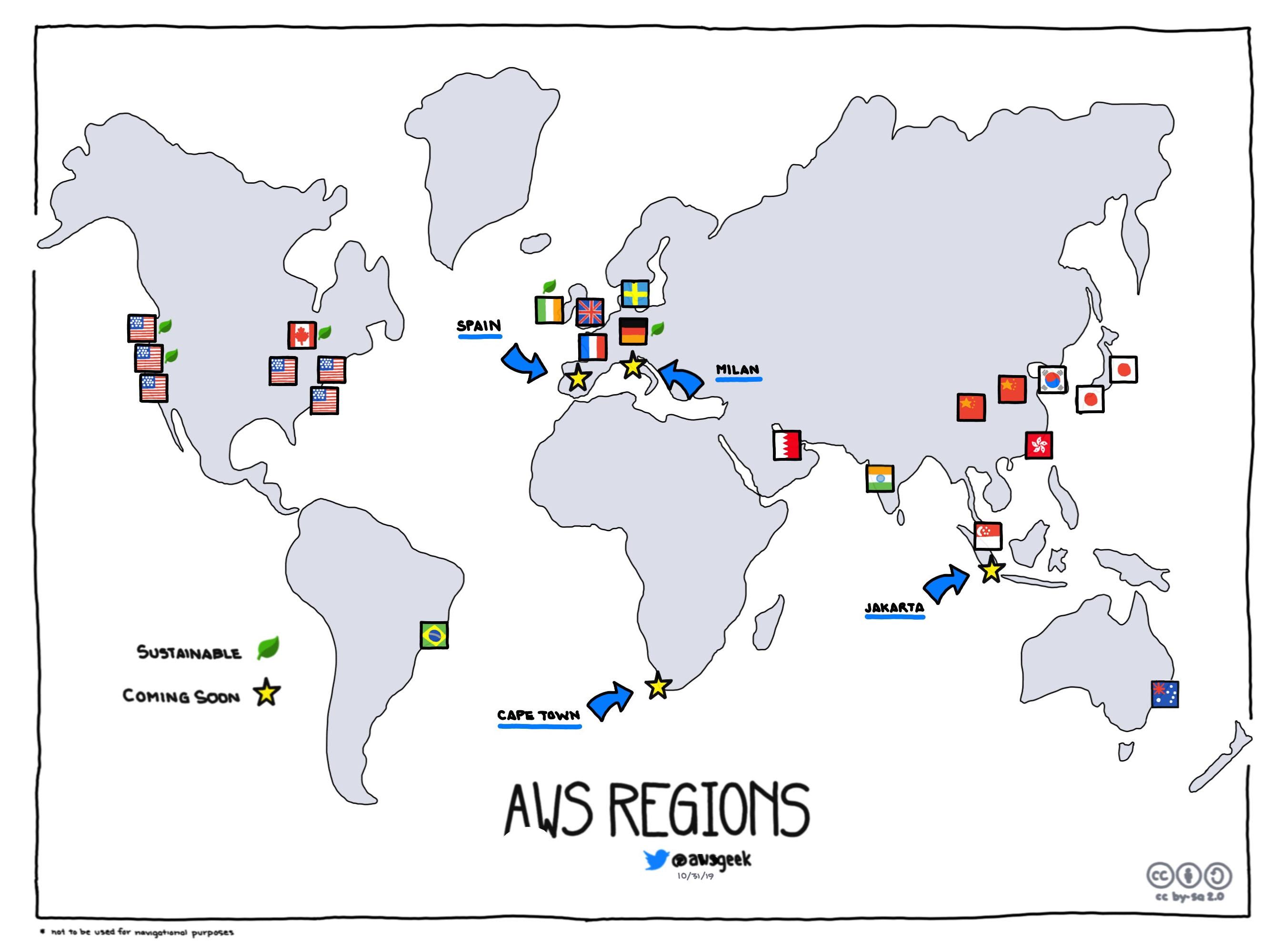 Регионы AWS. Зеленый лист обозначает экологичные источники энергии. Источник: https://www.awsgeek.com/AWS-Regions/index.html