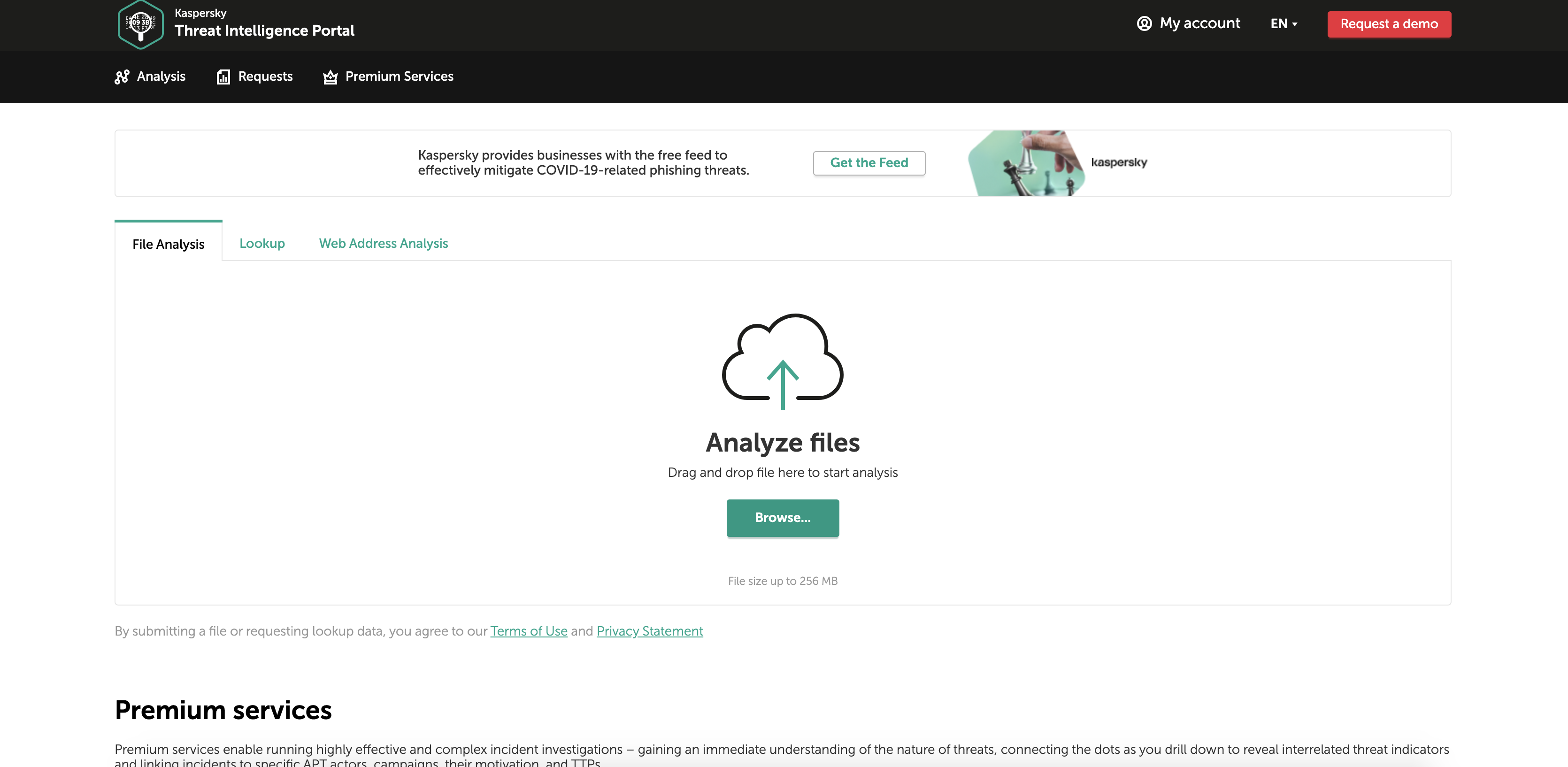 Домашняя страница обновленного Kaspersky OpenTIP