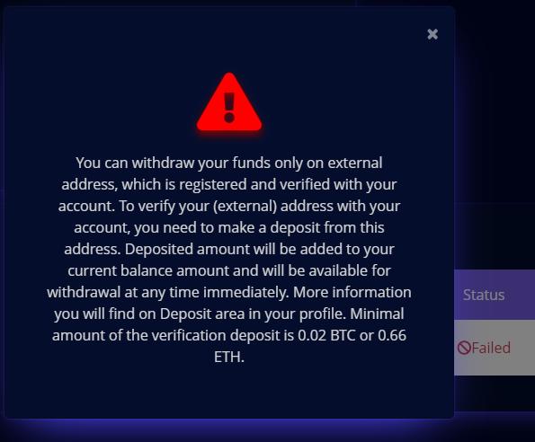 Псевдобиржа требует внести депозит 0.02 BTC или 0.66 ETH, чтобы привязать сторонний кошелек к аккаунту