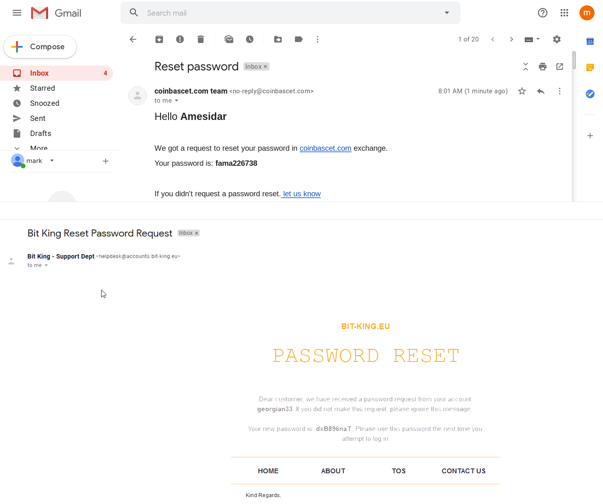 Фальшивые письма о сбросе пароля для аккаунта на не менее фальшивых криптовалютных биржах