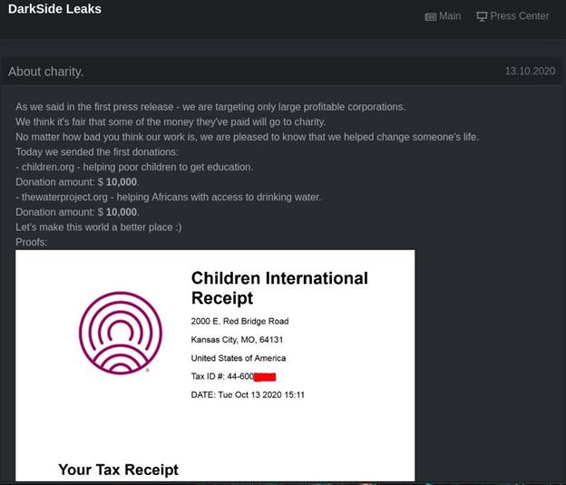 На DarkSide Leaks опубликованы скриншоты, подтверждающие перечисление денег на благотворительность