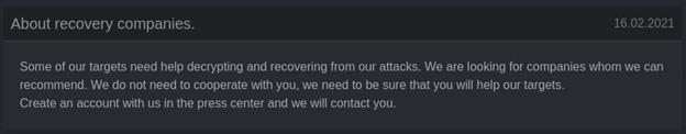 На сайте DarkSide Leaks размещено объявление о поиске партнеров якобы для помощи жертвам