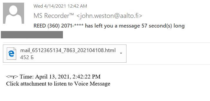 Фишинговое письмо с имитацией голосовой почты