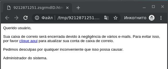 Çeviri: Sayın kullanıcı, okunmayan çok sayıda mesaj olduğu için bu posta kutusu silinecektir. Bunu önlemek için buraya tıklayarak hesabınızı güncelleyin. Bu sorun için özür dileriz. Sistem yöneticisi.