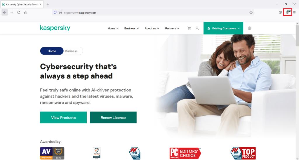 Kaspersky Protection eklentisini yüklediyseniz tarayıcınızın gezinti çubuğunda simgesini görüyor olmalısınız