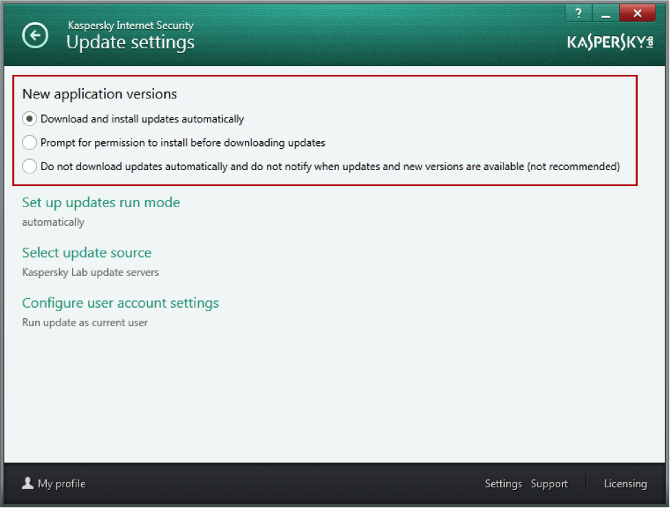 kaspersky antivirus not updating