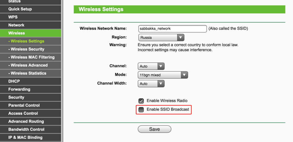 Disabling Broadcast SSID