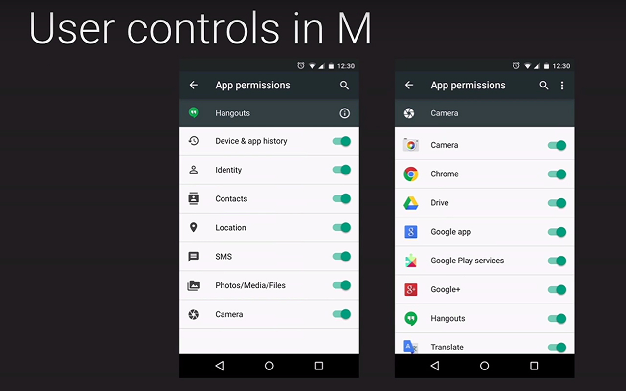 Android M: app permissions control