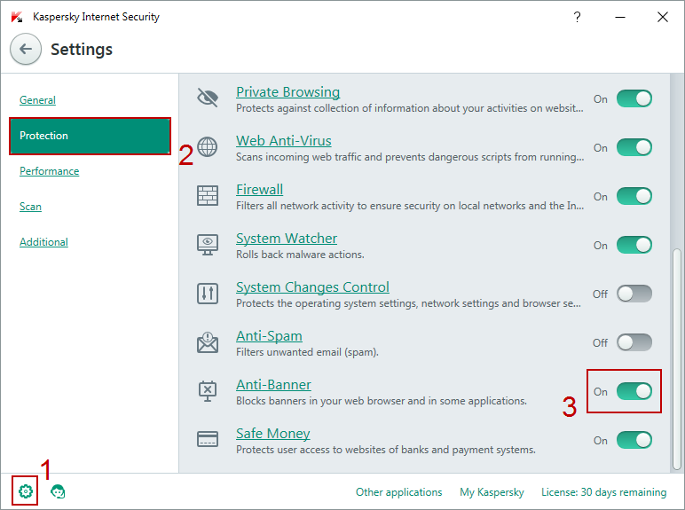 Anti-banner in Kaspersky Internet Security
