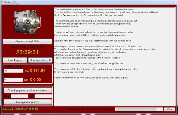 Security week 38: CoinVault ransomware screenshot