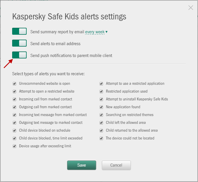 Receive notifications, if your child gets into trouble