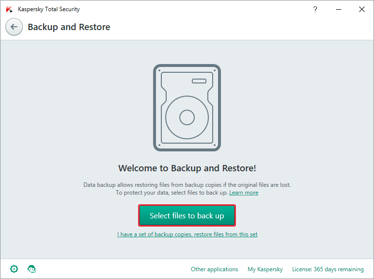 Setting up backups with Kaspersky Total Security