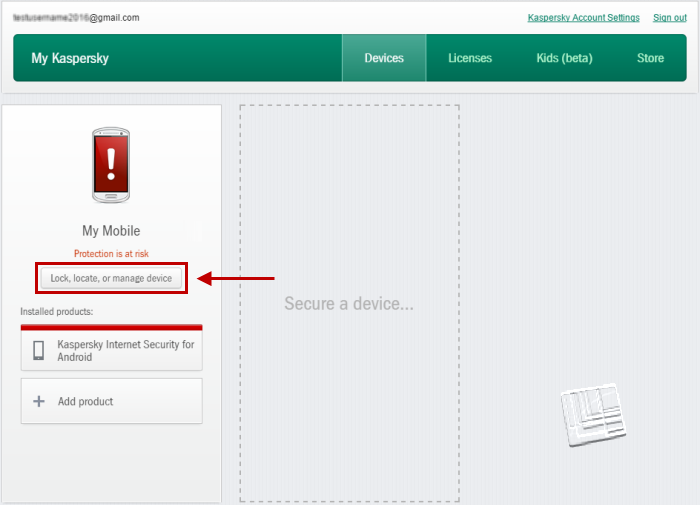 Secret code for Kaspersky Internet Security for Android: it's your data