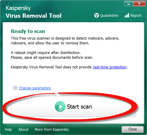 Free virus removal tool from Kaspersky Lab