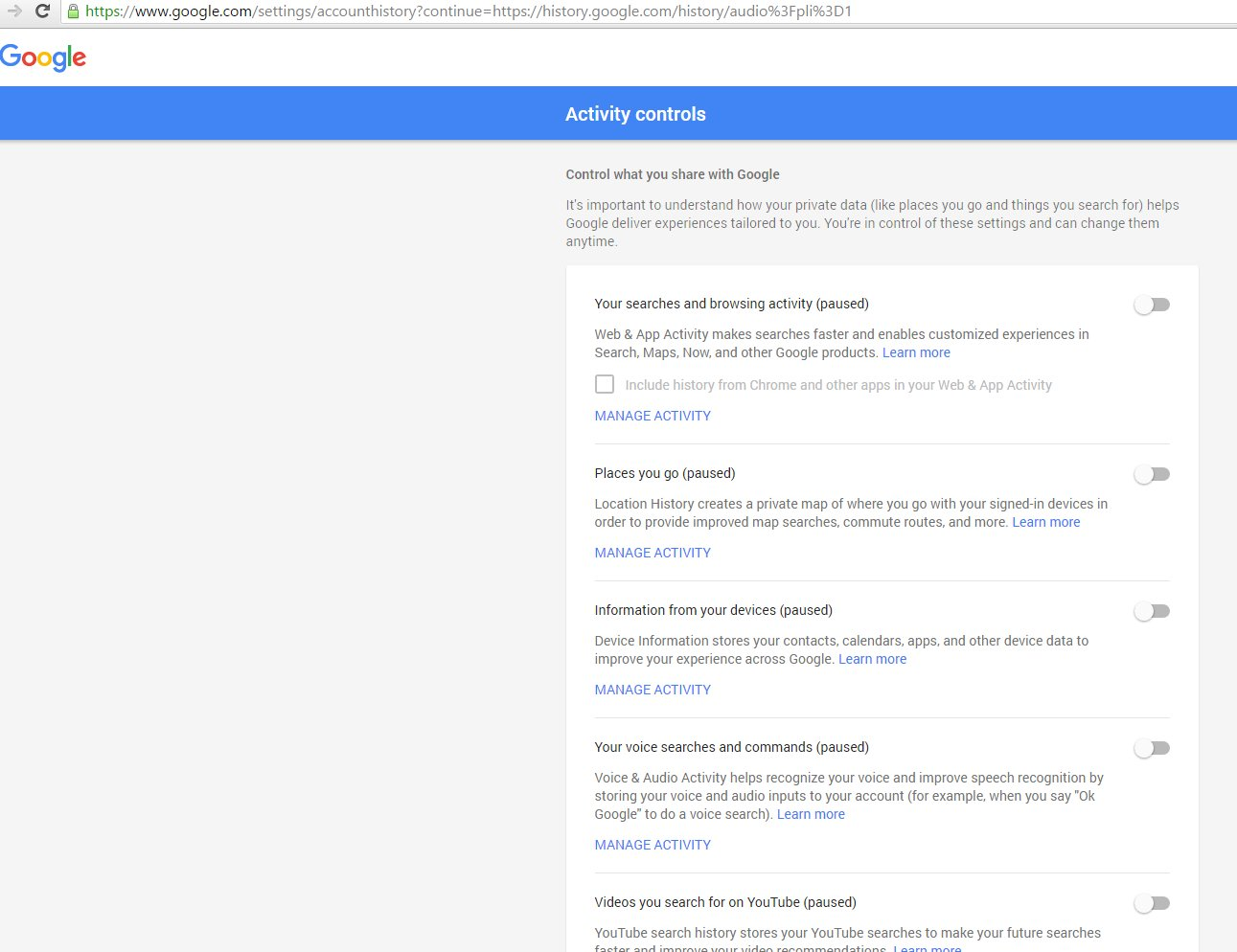 Google: search history tracking settings