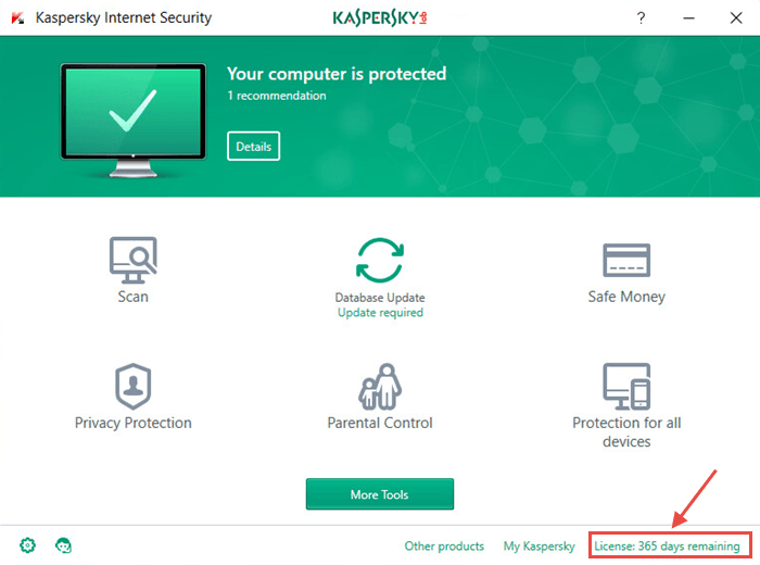 Open the security solution — Kaspersky Total Security or Kaspersky Internet Security, for example. Click License and then Purchase activation code
