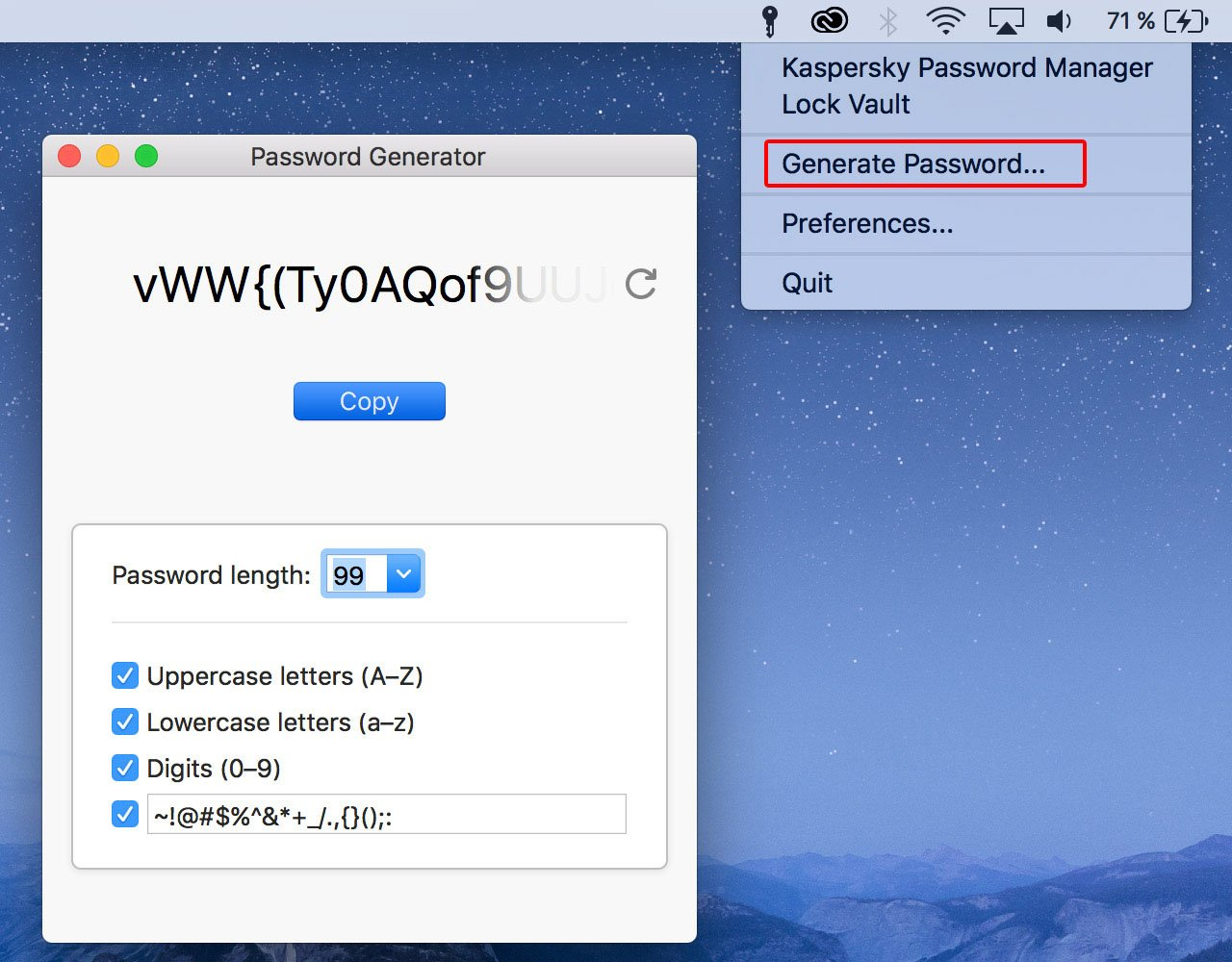Kaspersky Password Manager: Secure password generator