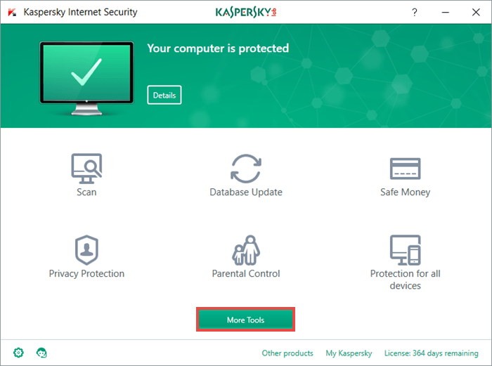 To activate Trusted Applications mode, open Kaspersky Internet Security and choose More Tools