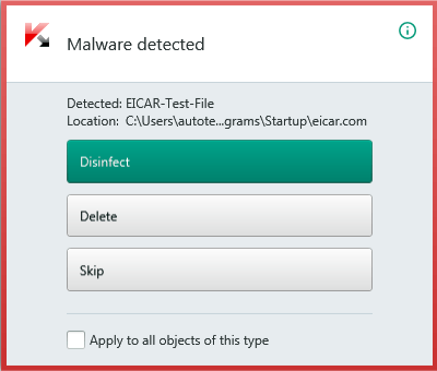 In this case, Kaspersky Internet Security will offer to cure an infected file or application if possible.