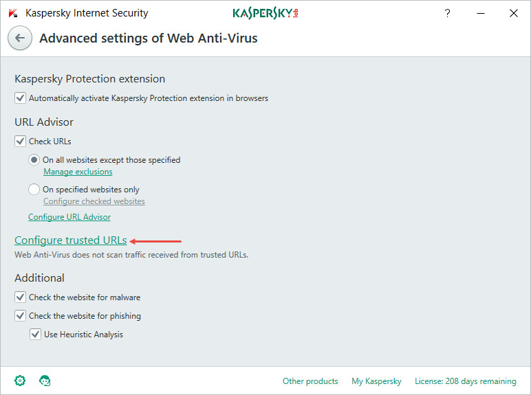 How to add an app or a link to exclusions in Kaspersky Internet