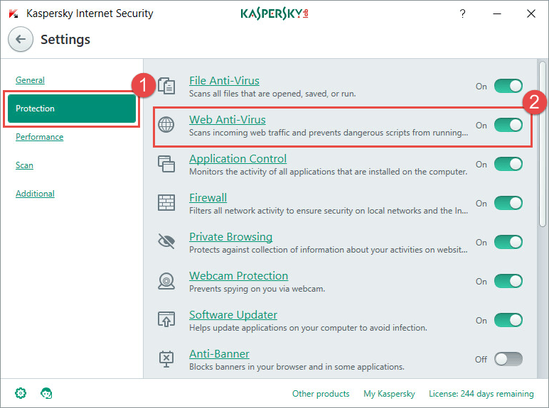 Open the settings in Kaspersky Internet Security