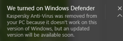 Btw, compare the modest message with the alarming window of Microsoft's own solution
