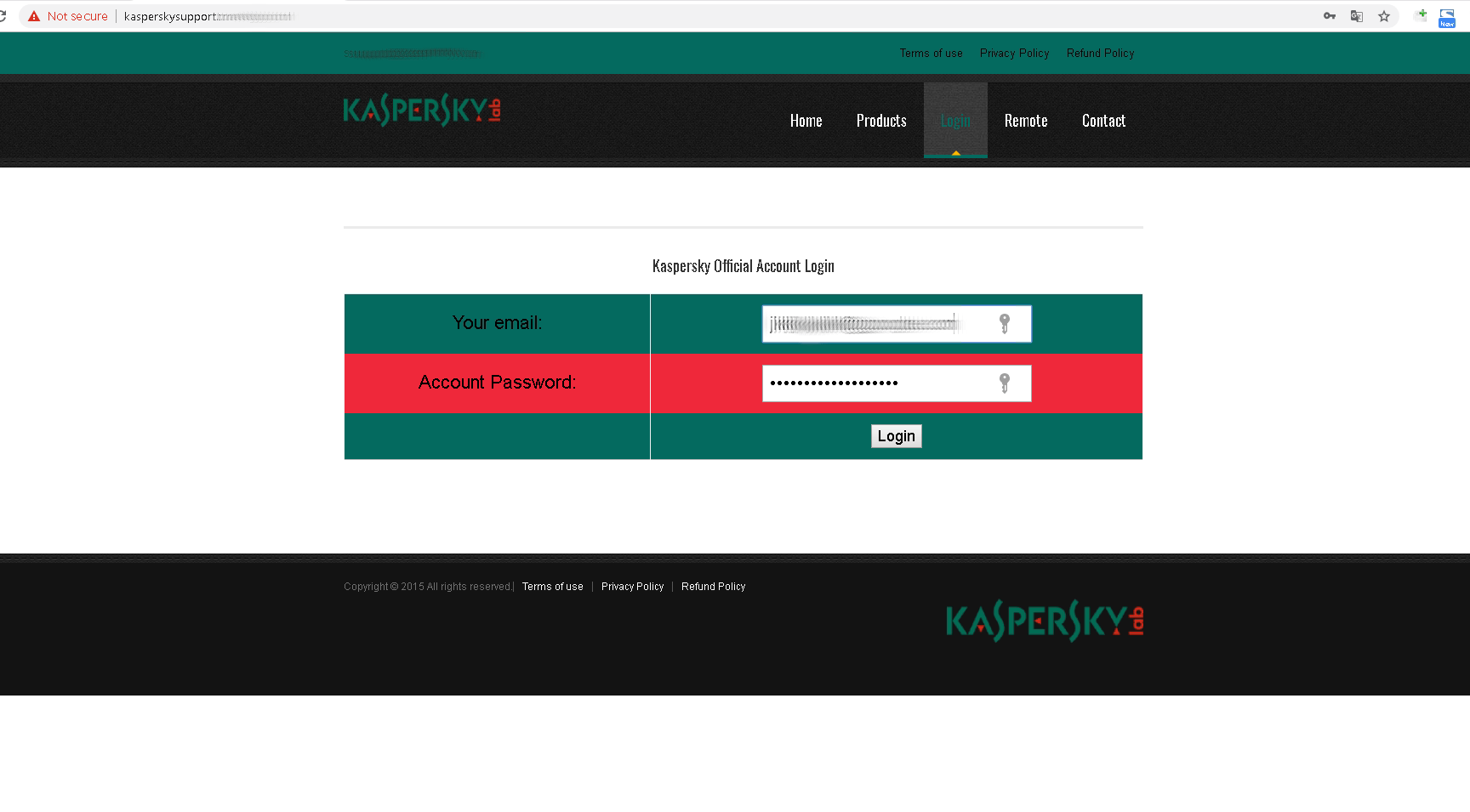This fake Kaspersky Lab support website prompts for account information, supposedly to run a virus scan